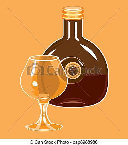 Clip Art Vector of Bottle of cognac and glass..