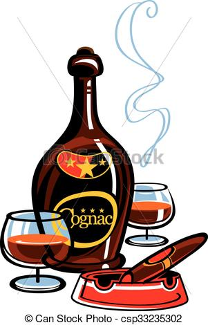 Vector Clipart of Cognac and cigar.
