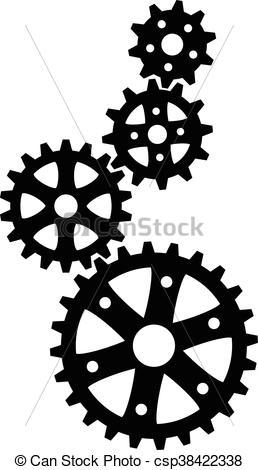 black cogs (gears).