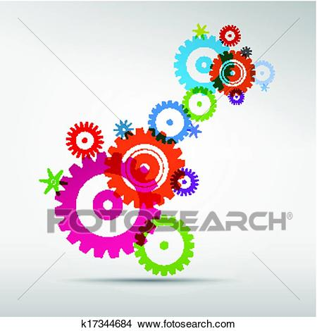 Abstract colorful vector cogs.