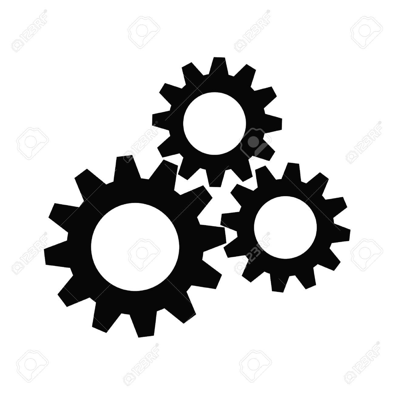 Gear collection. Set of gear wheels. Black cogs on white background.