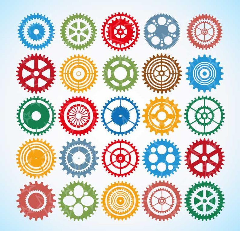 Gear clipart, steampunk clipart, digital gears, Cogwheels Clipart, Cogs  Clip Art, Steampunk Clipart, Silhouette Clipart, digital cogs,.