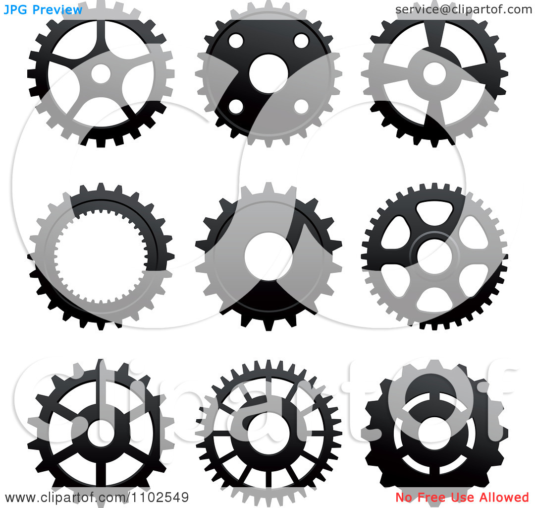 Clipart Black And White Gear Cog Wheels.