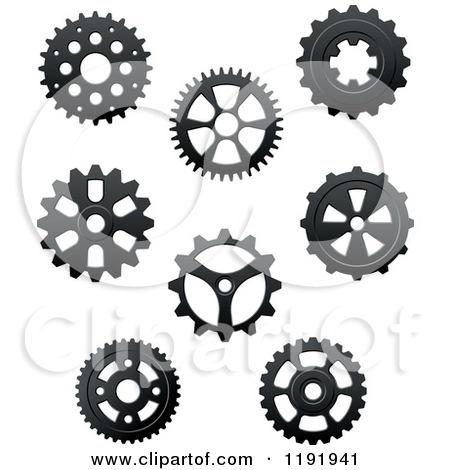 Clipart of Black and White Gear Cog Wheels 3.