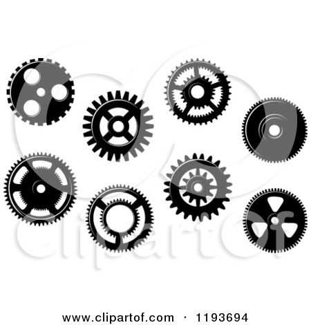 Clipart of Black and White Gear Cog Wheels 5.