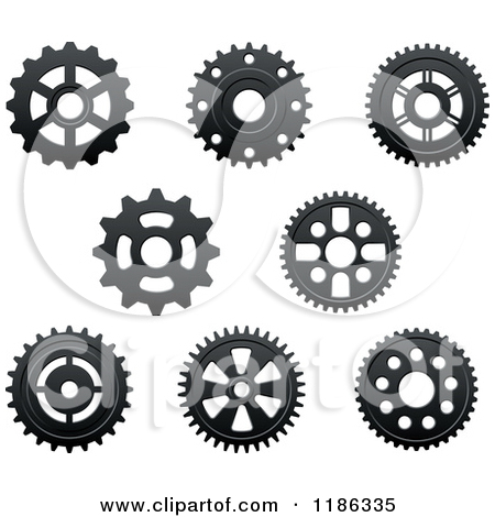 Clipart of Black and White Gear Cog Wheels 2.