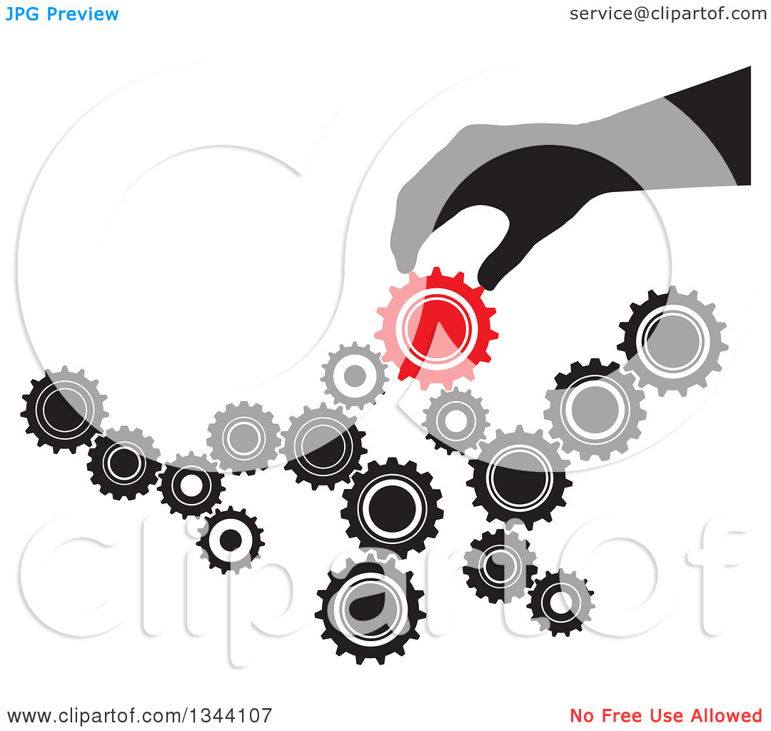 Clipart of a Black Silhouetted Hand Creating Something with Black.