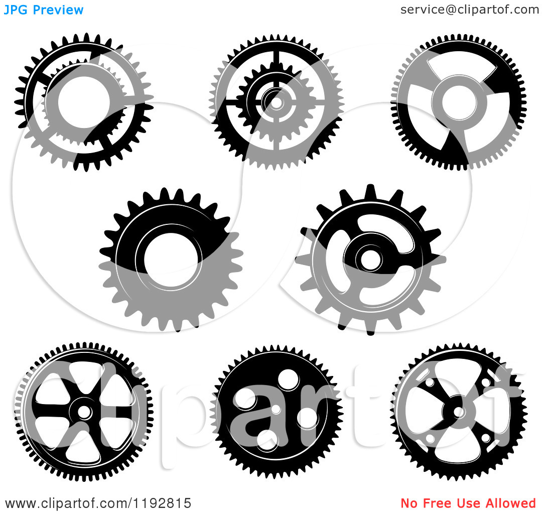 Clipart of a Black and White Gear Cog Wheels 4.