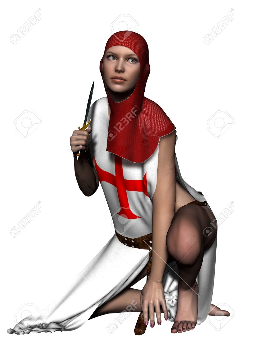 Woman In Templar Coif And Tabard Holding A Dagger Stock Photo.