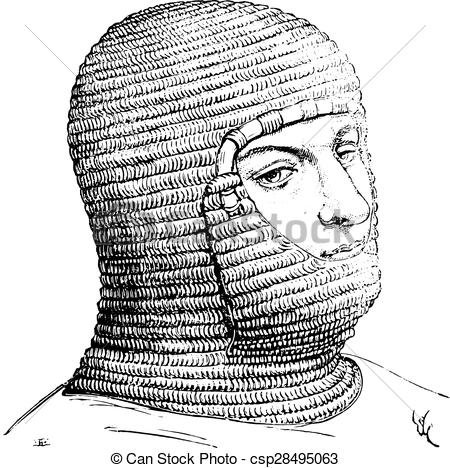 Clip Art Vector of Coif of the soldiers in the Middle Ages.
