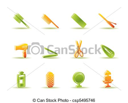 Clip Art Vector of hairdressing, coiffure and make.
