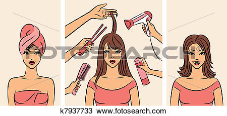 Clipart of Women with coiffure k7937733.
