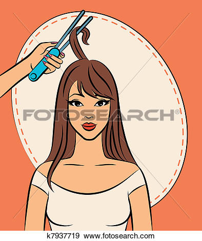 Clip Art of Woman with coiffure k7937719.