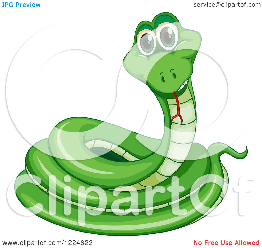 Clipart of a Happy Green Coiled Snake.
