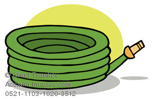 Clipart Image of A Coiled Green Gardening Hose.