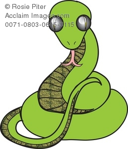 Clipart Illustration of a Coiled Green Snake with a Forked Tongue.