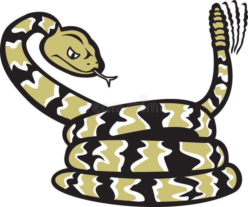 Rattlesnake Cartoon. A cartoon of a coiled rattlesnake.