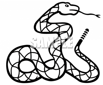 Black and White Clipart Picture of a Coiled Rattlesnake.
