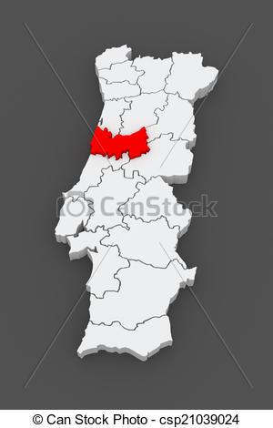 Clip Art of Map of Coimbra. Portugal. 3d csp21039024.