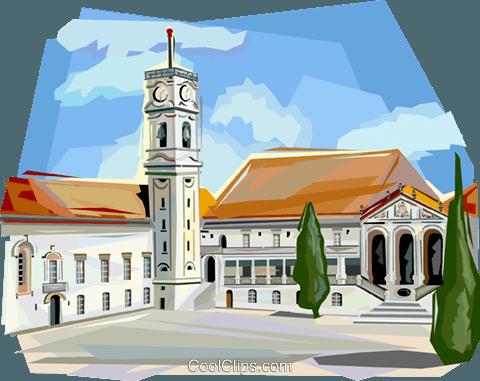 Portugal Coimbra University Royalty Free Vector Clip Art.