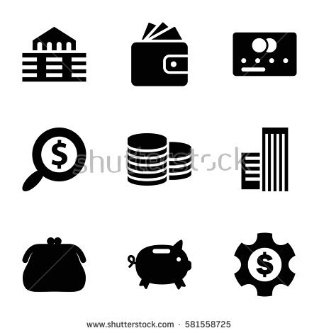 Banking Money Coin Vector Icons Set Stock Vector 138287249.