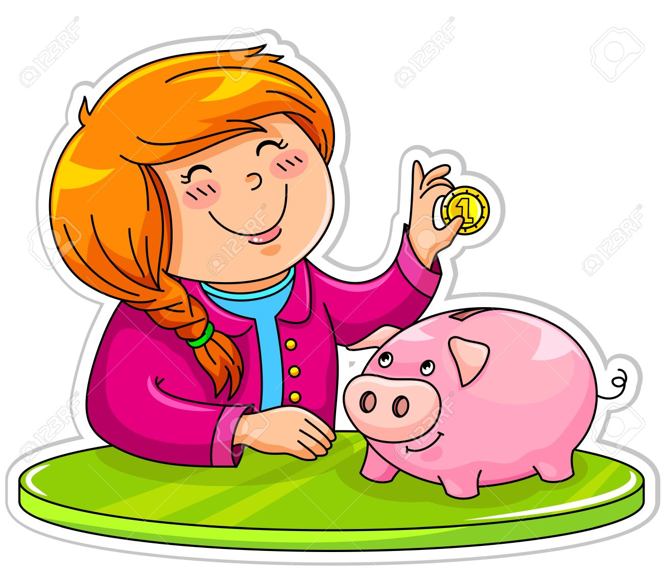 Little Girl Putting A Coin In Her Piggy Bank Royalty Free Cliparts.