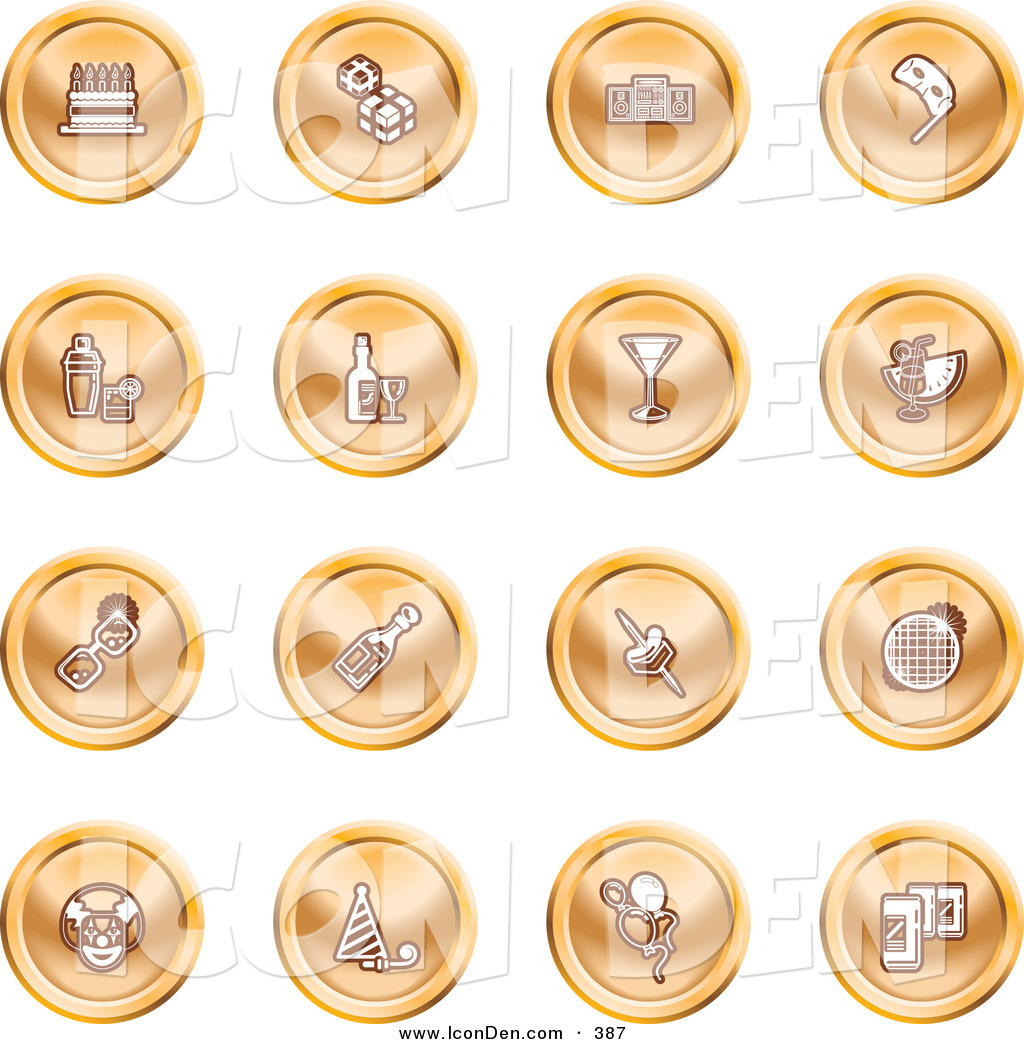 Clip Art of a Collection of Orange Coin Icons of Gifts, Radio.
