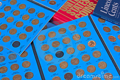 Penny Coin Collection Royalty Free Stock Photos.