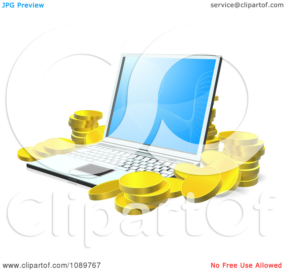 Clipart 3d Gold Coins Stacked Around A Laptop.