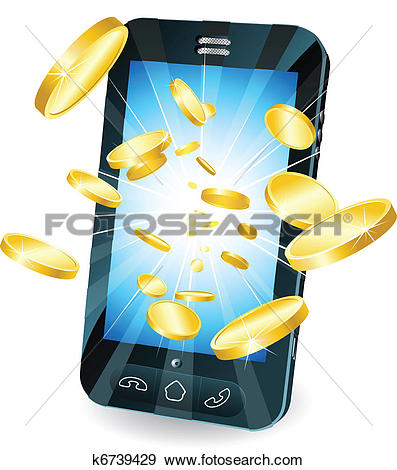 Clip Art of Gold coins flying out of smart mobile phone k6739429.