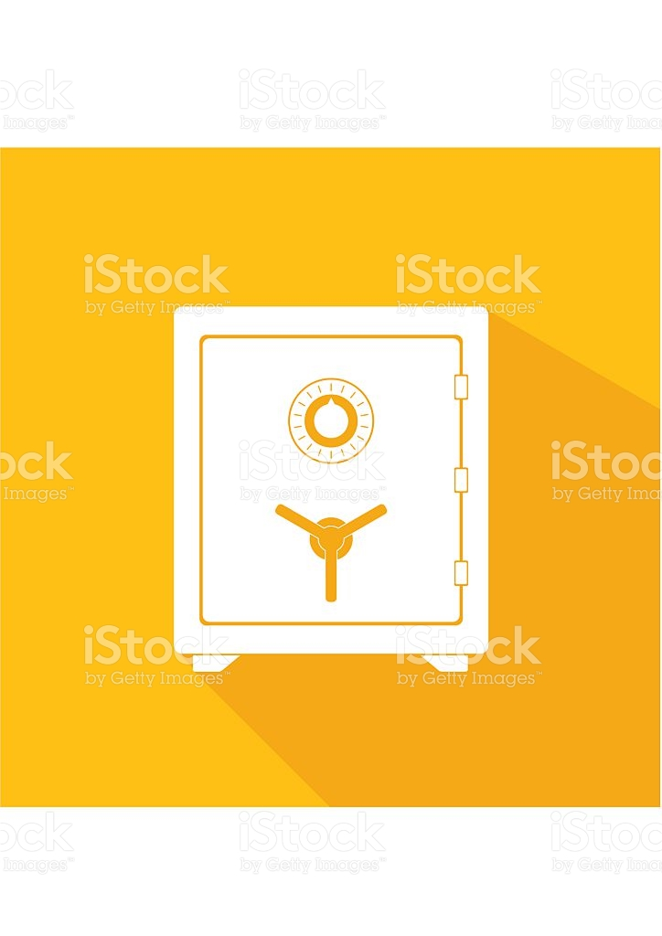 Safe Icon Metal Box Secure And Money Concept Symbol stock vector.