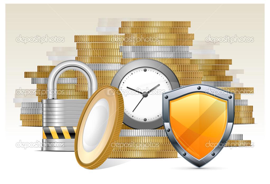 Gold coins & protection — Stock Vector © creatOR76 #9428849.
