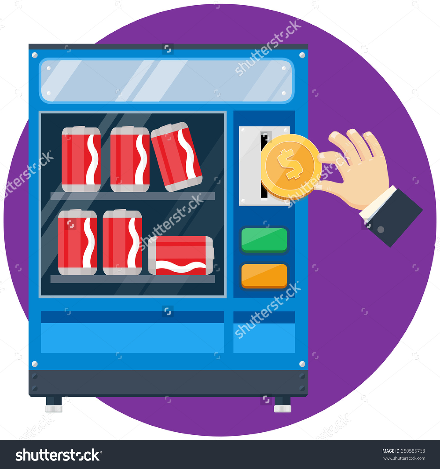 Soda Cans Vending Machine Hand Drop Stock Vector 350585768.