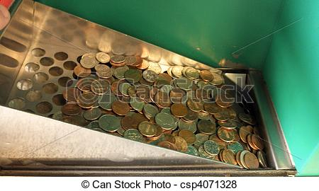 Pictures of USA coins drop in to a coin counting machine.