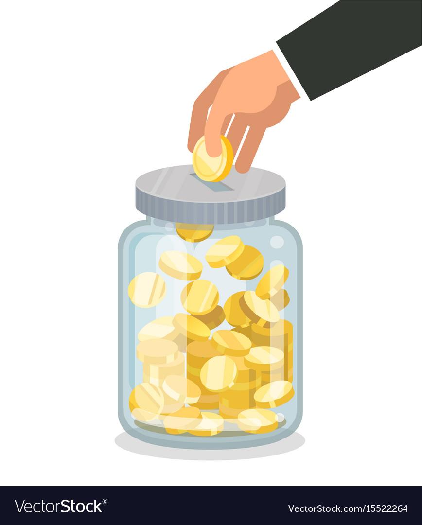 Saving flat money jar with hand hoding coin.