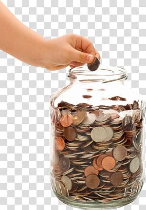 Green glass money jar illustration, Money Jar Saving , Money.
