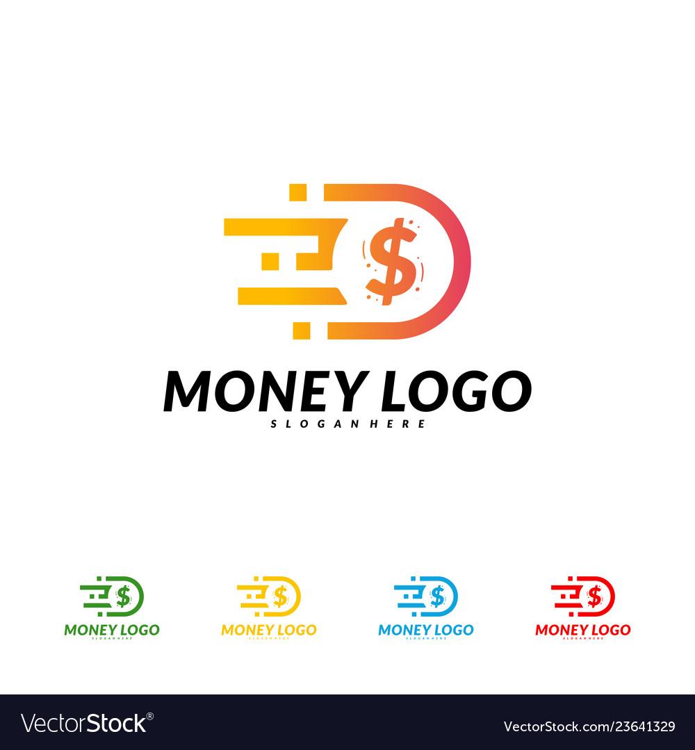 Fast money logo design concept fast coin logo.