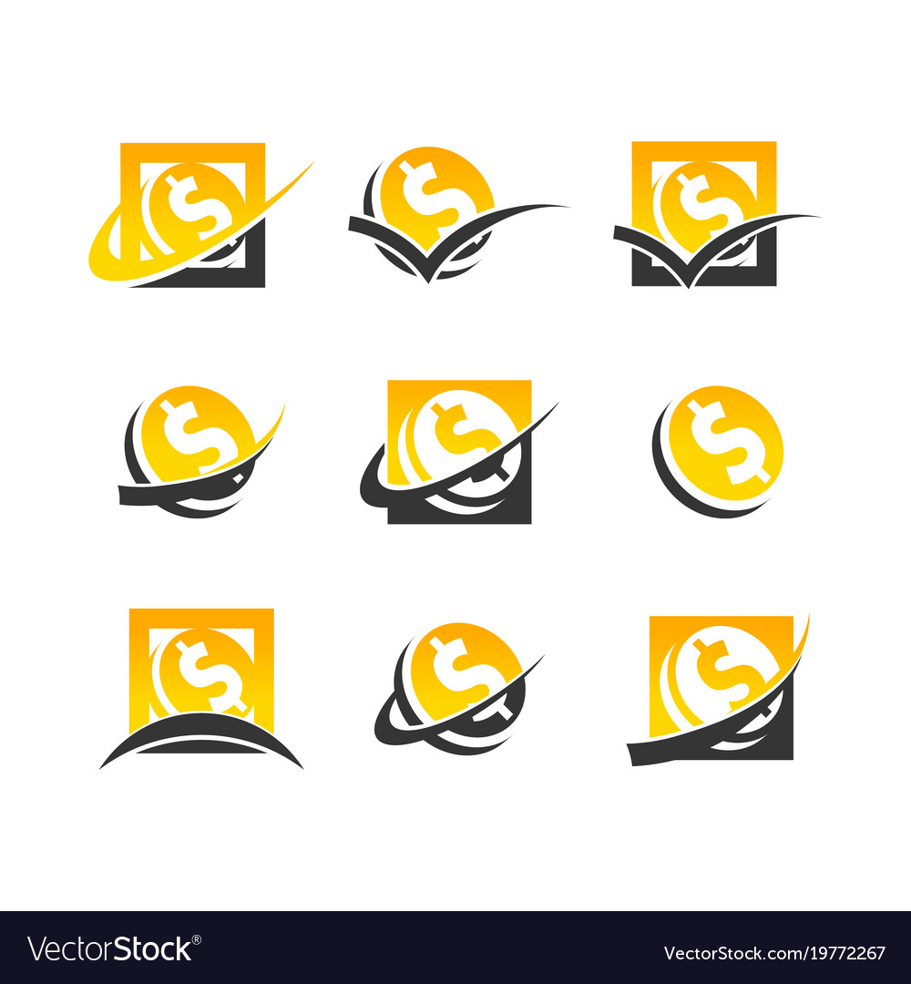 Dollar symbol coin logo icons.