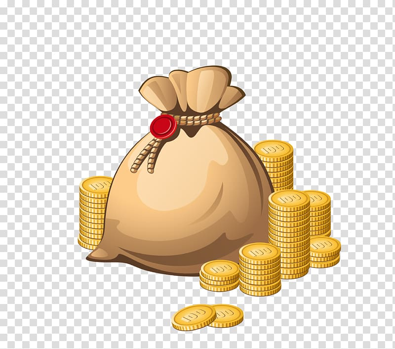 Gold coin , Money bag , yellow bag with gold coins.
