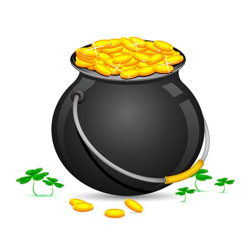 Gold Coin Pot of Saint Patrick Day.
