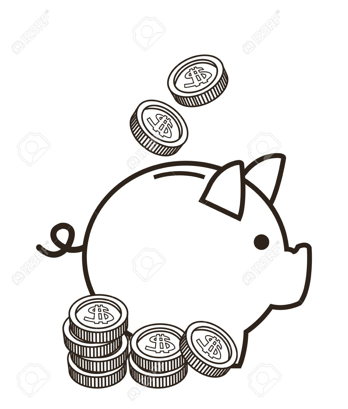 piggy coin money financial sketch icon. Black white isolated...
