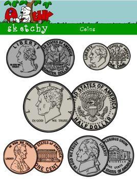 Coins For Teachers Clipart.