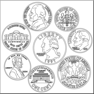 Clip Art: Coin Set B&W I abcteach.com.