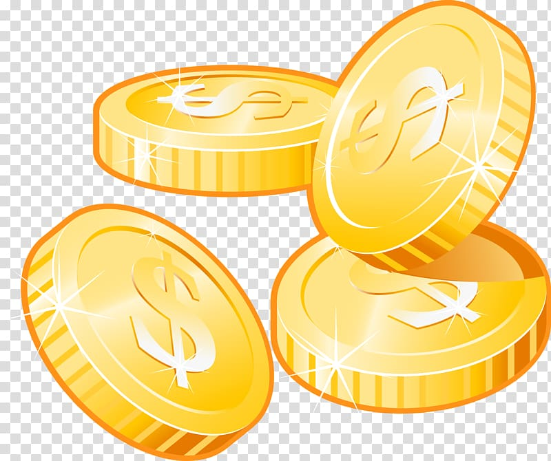 Four gold dollar coin illustration, Icon, Gold coins.