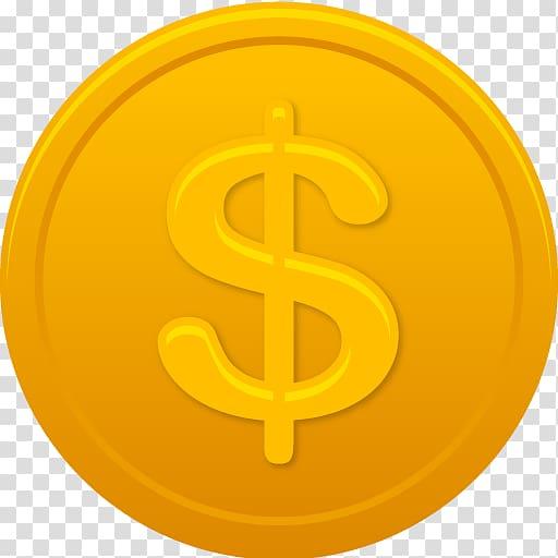 Dollar coin icon, symbol trademark yellow, Coin us dollar.