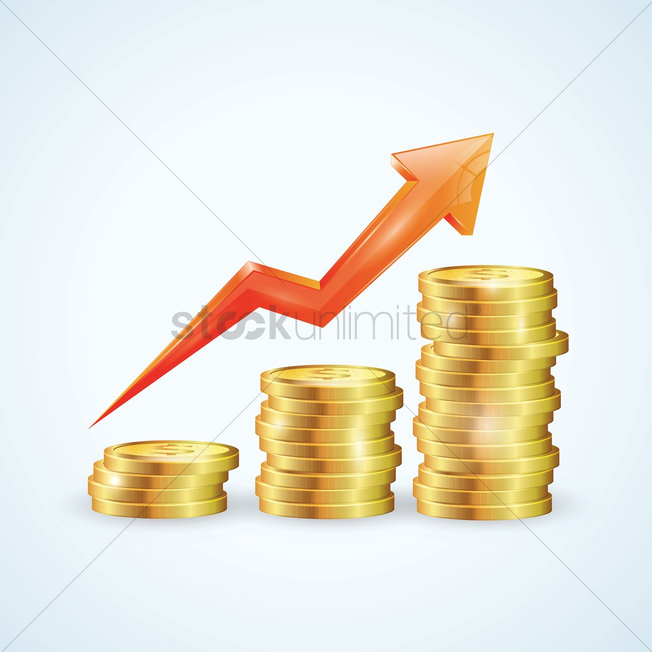 Stack of gold coins with arrow Vector Image.