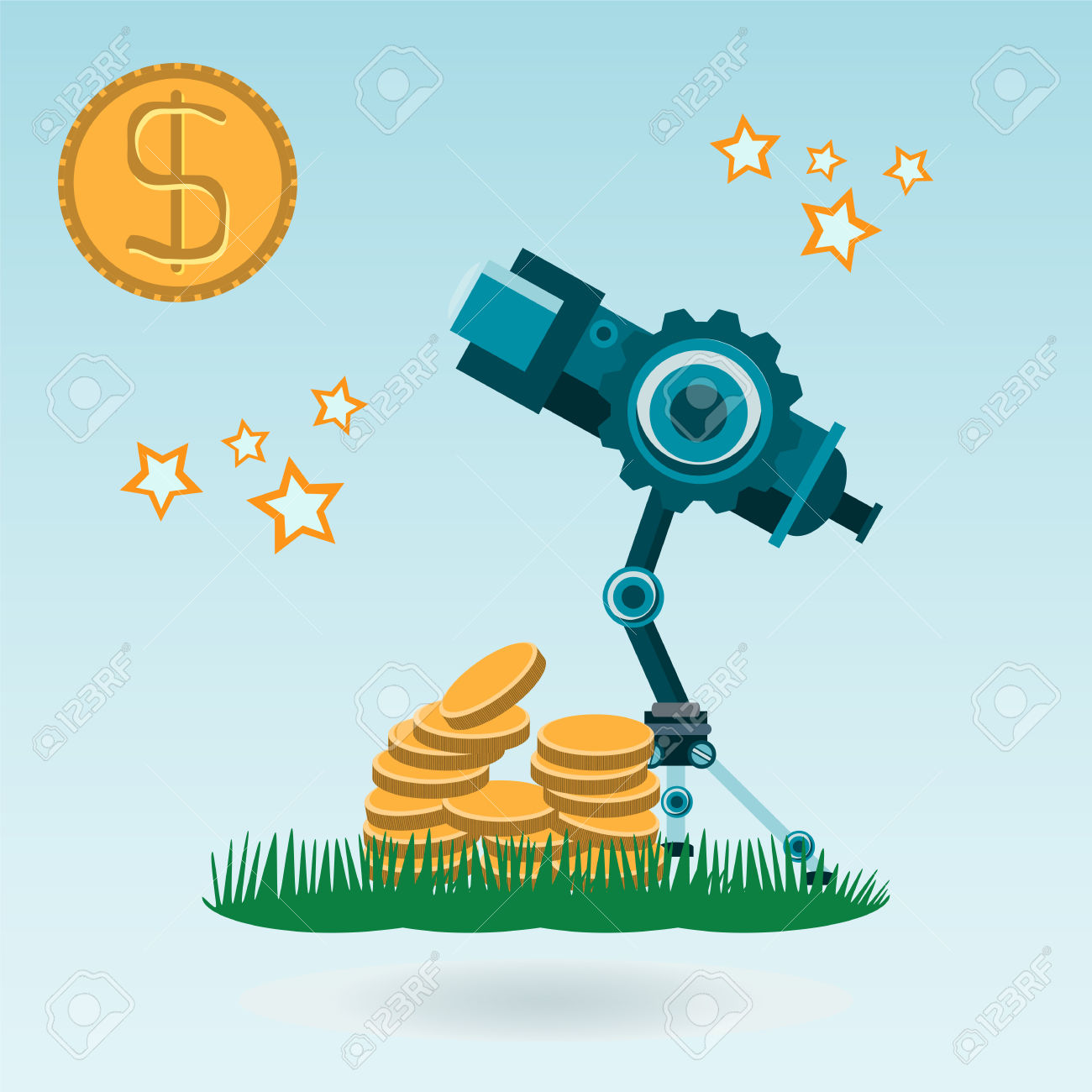 Coins telescope clipart #13