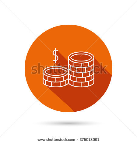 Dollar Coins Icon. Cash Money Sign. Bank Finance Symbol. Round.