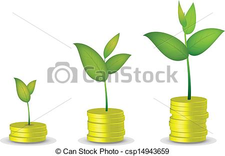 Clipart Vector of Coin tree grow csp14943659.