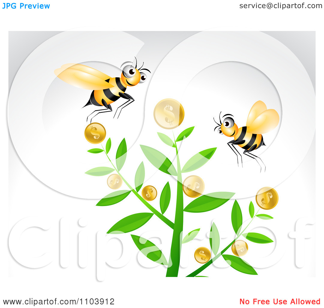 Clipart Bees And A Coin Tree On Gray.